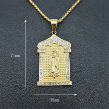 Load image into Gallery viewer, GUNGNEER Christian Miraculous Iced Out Virgin Mary Pendant Necklace Stainless Steel Jewelry