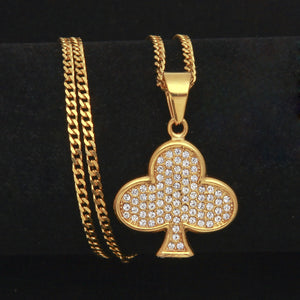 GUNGNEER Stainless Steel Heart Spade Diamond Club Poker Pendant Necklace Jewelry Accessories