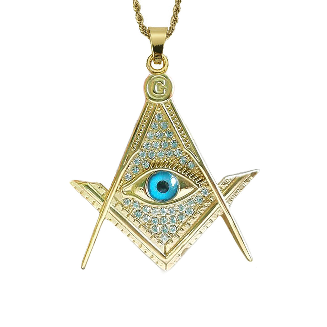 GUNGNEER All Seeing Pendant Necklace Stainless Steel Illuminati Jewelry Accessory For Men