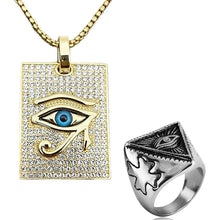Load image into Gallery viewer, GUNGNEER Eye of Horus Cubic Zirconia Pendant Necklace Ring Stainless Steel Pyramid Jewelry Set