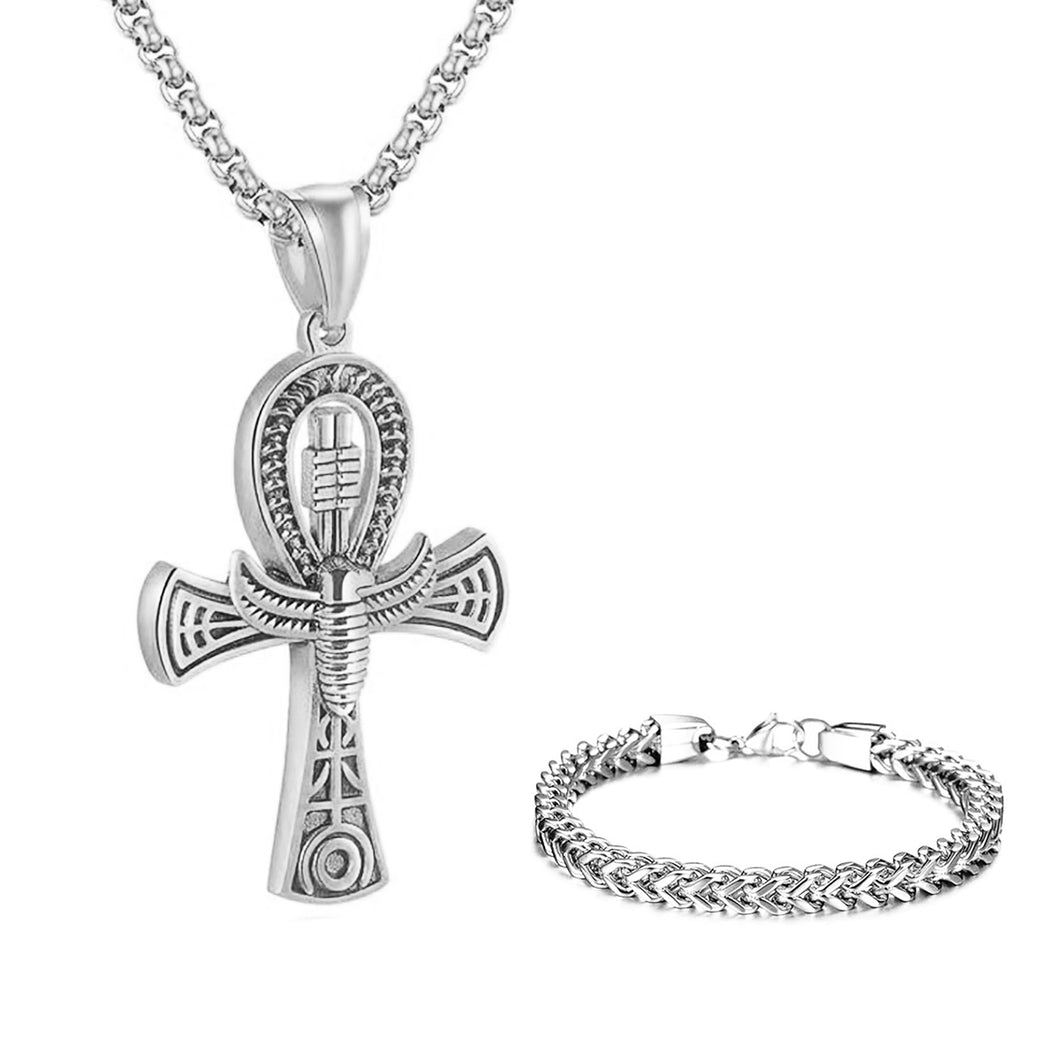 GUNGNEER Stainless Steel Ankh Cross Necklace Link Chain Bracelet Pyramid Egyptian Jewelry Set