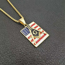 Load image into Gallery viewer, GUNGNEER American Flag Freemason Pendant Necklace Biker Jewelry Gift For Men