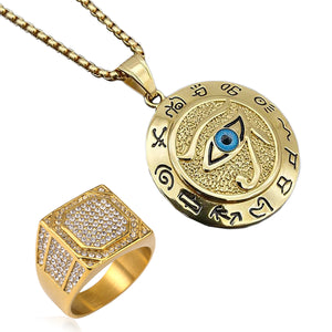 GUNGNEER Stainless Steel Eye of Horus Pendant Necklace Iced Out Ring Egyptian Jewelry Set