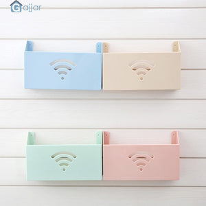 2TRIDENTS Small Cute Wall Mount WiFi Router Storage Box - WiFi Box Shelf Organizer for Household (Blue)