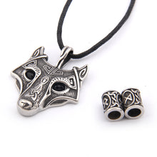 Load image into Gallery viewer, GUNGNEER Wolf Head Pendant Necklace Nordic Viking Wolf Animal Spirit Zodiac Totem Necklace for Men Women, Adjustable Length Cotton Cord, Bonus Rune Beard Bead