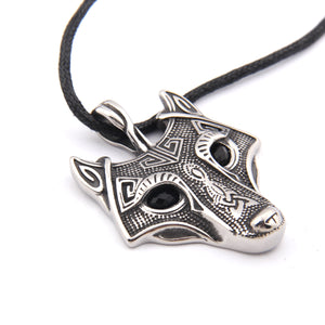 GUNGNEER Wolf Head Pendant Necklace Nordic Viking Wolf Animal Spirit Zodiac Totem Necklace for Men Women, Adjustable Length Cotton Cord, Bonus Rune Beard Bead