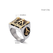 Load image into Gallery viewer, GUNGNEER Square Face Masonic Ring Multi-size In God We Trust Freemason Jewelry For Men