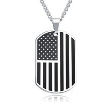 Load image into Gallery viewer, GUNGNEER Stainless Steel Statement US America Flag Dog Tag Pendants Necklaces Jewelry Men Women