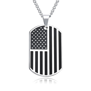GUNGNEER Stainless Steel Statement US America Flag Dog Tag Pendants Necklaces Jewelry Men Women