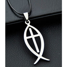 Load image into Gallery viewer, GUNGNEER Jesus Cross Necklace Ichthys Christ Fish Chain Jewelry Accessory For Men Women