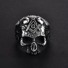 Load image into Gallery viewer, GUNGNEER Skull Stainless Steel Charm Leather Bracelet Gothic Ring Vintage Jewelry Set Men Women