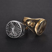 Load image into Gallery viewer, GUNGNEER Stainless Steel Virgin Mary Praying Hand Bless Signet Ring Religious Jewelry Men Women