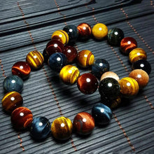 Load image into Gallery viewer, HoliStone Multi Color Tiger Eye Stone Beads Bracelet ? Anxiety Stress Relief Yoga Beads Bracelets Chakra Healing Crystal Bracelet for Women and Men
