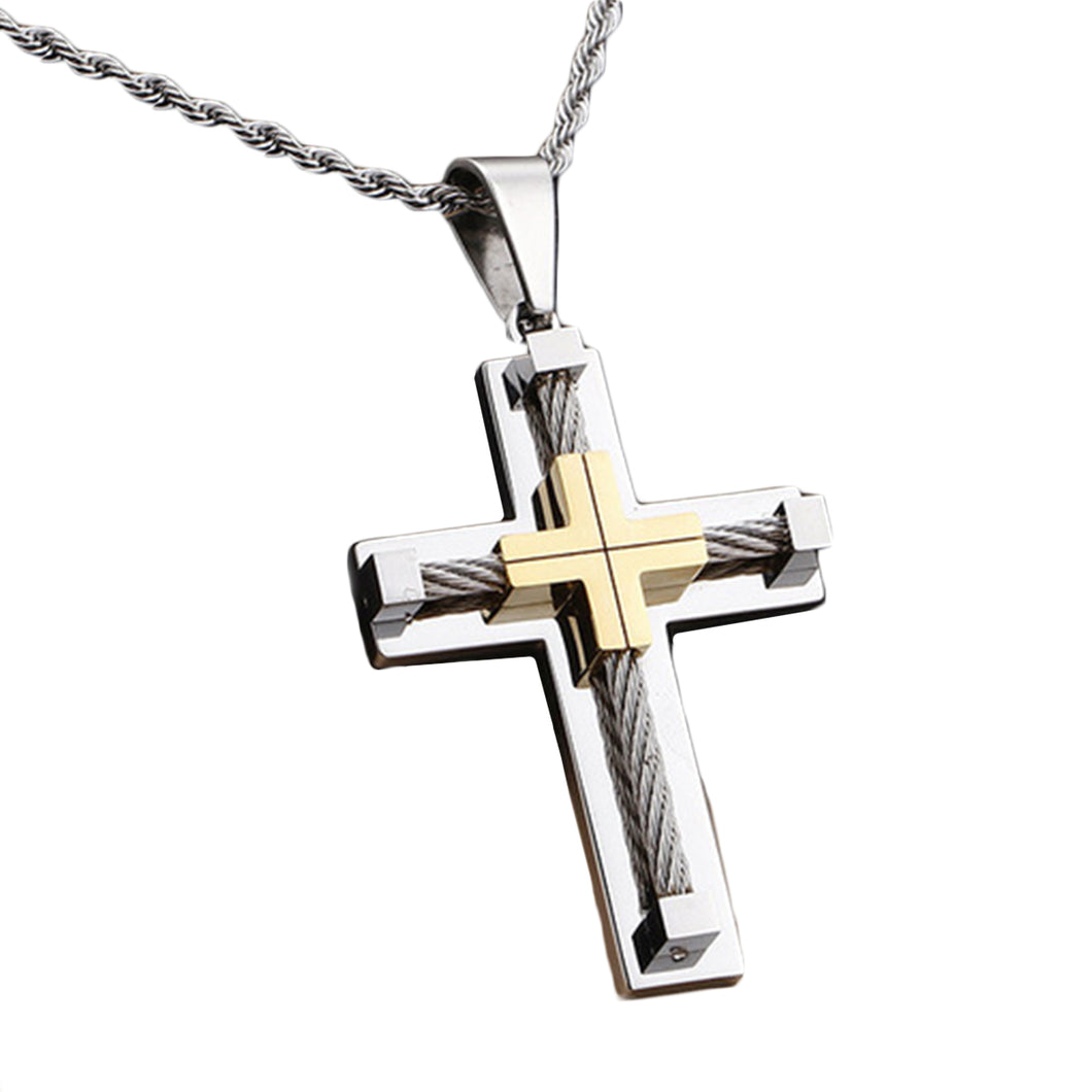 GUNGNEER Multilayer Christian Pendant Necklace Cross Jesus Gift Accessory For Men Women