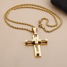 Load image into Gallery viewer, GUNGNEER Multilayer Christian Pendant Necklace Cross Jesus Gift Accessory For Men Women