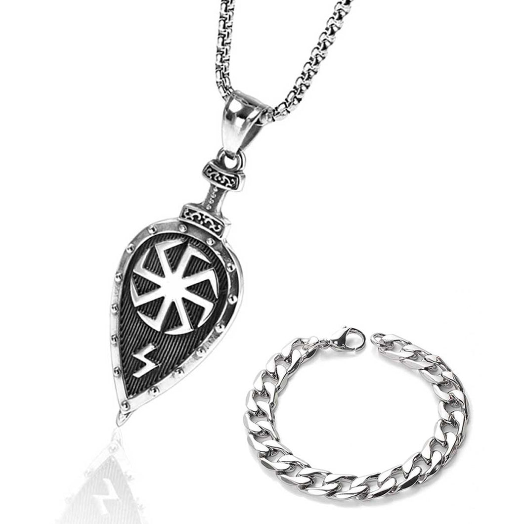 GUNGNEER Stainless Steel Viking Norse Warrior Shield Pendant Necklace with Bracelet Jewelry Set