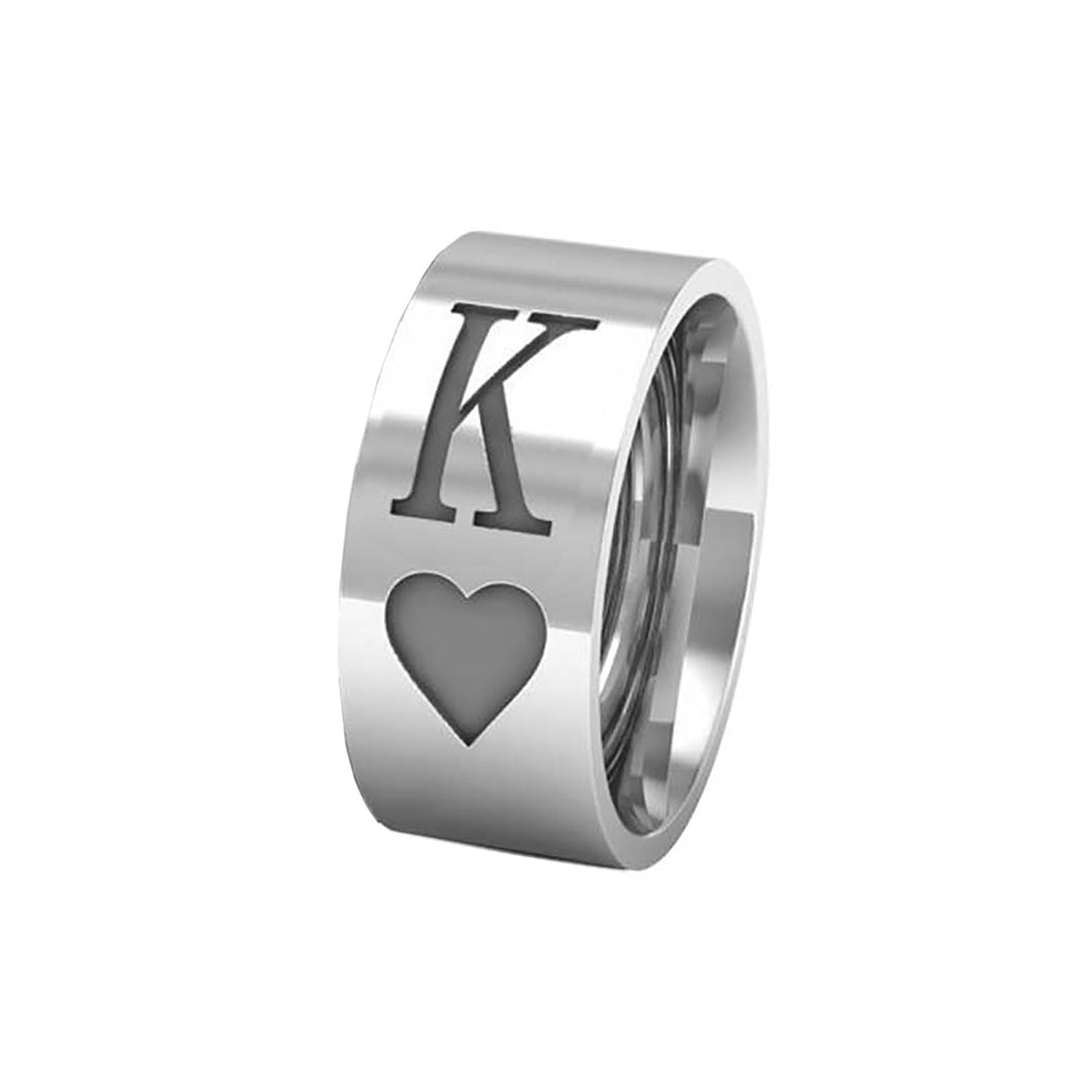 GUNGNEER Stainless Steel Round Classic Cool K Q King Queen Heart Poker Ring Jewelry Men Women