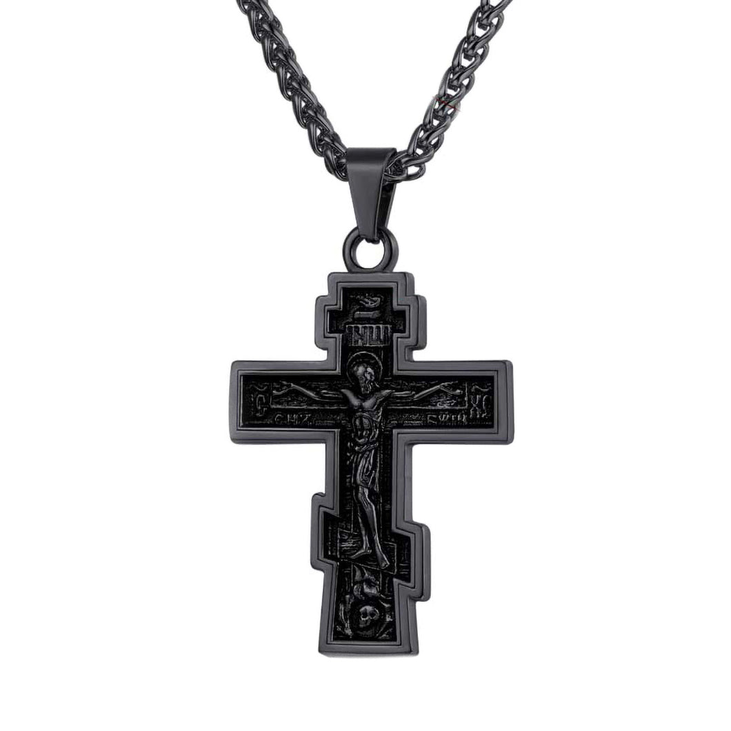 GUNGNEER Stainless Steel Pray Cross Necklace Jesus Pendant Jewelry Gift For Men Women