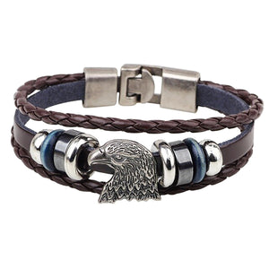 GUNGNEER Punk Vintage American Bald Eagle Charm Multilayer Leather Bracelet Bangle Jewelry