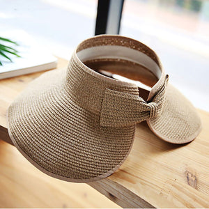 2TRIDENTS Roll Up Sun Hat Foldable Straw Sun Hat Protect Summer Beach Wide Brim Hat for Women and Girls