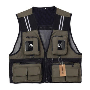 2TRIDENTS Waistcoat Sleeveless Fishing Jacket Multi-Pocket Vest for Outdoor Fishing, Hunting, Traveling, Photography and Exploration (Army Green, L)