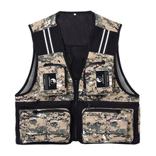 Load image into Gallery viewer, 2TRIDENTS Waistcoat Sleeveless Fishing Jacket Multi-Pocket Vest for Outdoor Fishing, Hunting, Traveling, Photography and Exploration (Army Green, L)