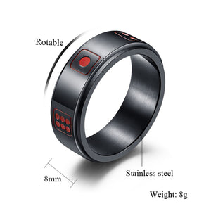 GUNGNEER Stainless Steel Rotable Spinner Lucky Dice Punk Ring Jewelry Accessories Men Women
