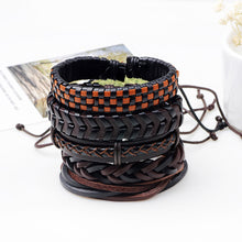 Load image into Gallery viewer, GUNGNEER Demon Inverted Cross 666 Pendant Multi-layer Leather Bracelet Jewelry Set