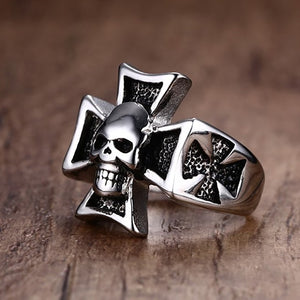 GUNGNEER 2 Pcs Gothic Skull Biker Templar Cross Ring Punk Skeleton Jewelry Set Men Women