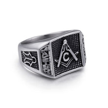 Load image into Gallery viewer, GUNGNEERMasonic Ring Multi-size Stainless Steel Freemason Biker Ring For Men Jewelry Set