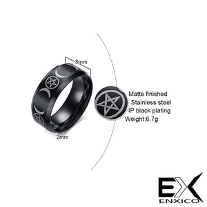 ENXICO Matte Black Striple Moon Ring ? 316L Stainless Steel ? Wicca Pagan Witchcraft Jewelry (10)