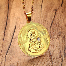 Load image into Gallery viewer, GUNGNEER Stainless Steel Mary Mother of Jesus Round Medallion Pendant Necklace Jewelry