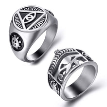 Load image into Gallery viewer, GUNGNEER 2 Pcs Stainless Steel Egyptian Eye of Horus Crown Life Ankh Ring Jewelry Set