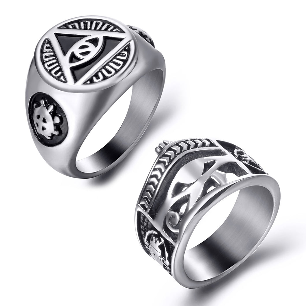 GUNGNEER 2 Pcs Stainless Steel Egyptian Eye of Horus Crown Life Ankh Ring Jewelry Set