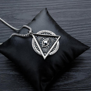 GUNGNEER Illuminati All Seeing Necklace Box Chain Eye Pendant Jewelry For Men