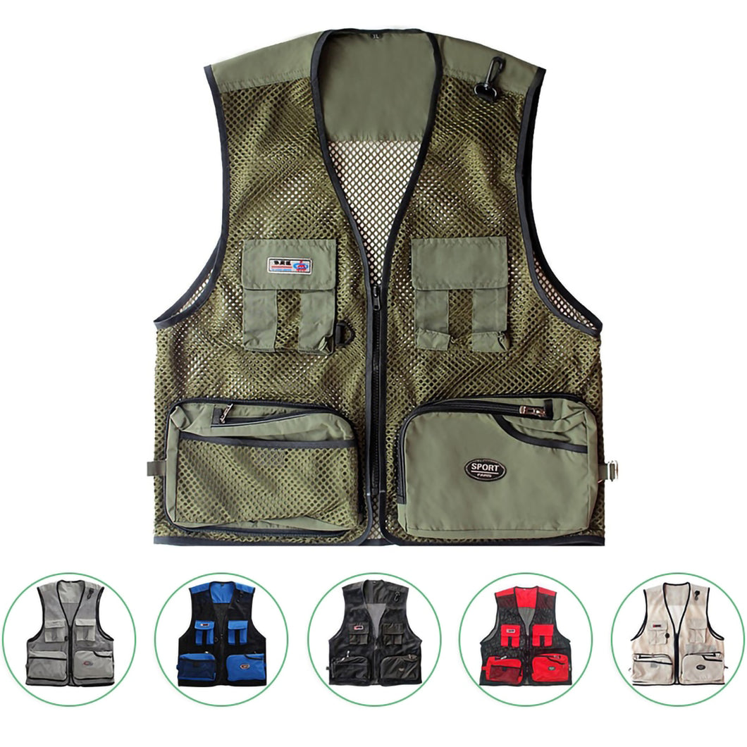 2TRIDENTS Mesh Fishing Vest Casual Outdoor Utility Work Pockets Traveling Fishing Photo Journalist, etc. (Army Green, 4XL)