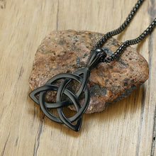 Load image into Gallery viewer, GUNGNEER Celtic Triquetra Pendant Necklace with Beaded Bracelet Stainless Steel Jewelry Set