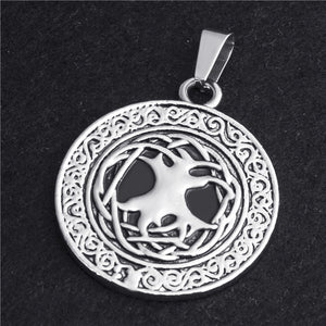 GUNGNEER Irish Tree of Life Pendant Necklace Stainless Steel Rope Chain Jewelry Men Women