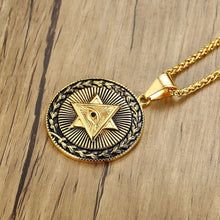 Load image into Gallery viewer, GUNGNEER All Seeing Pendant Necklace Gold Plated Stainless Steel Illuminati Jewelry For Men