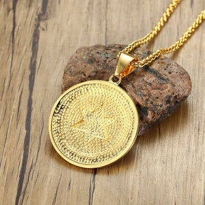 GUNGNEER All Seeing Pendant Necklace Gold Plated Stainless Steel Illuminati Jewelry For Men