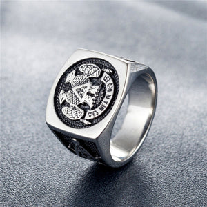 GUNGNEER Men's Mason Double Eagle Ring Stainless Steel Master Mason Accessories