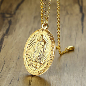 GUNGNEER Catholic Stainless Steel Lady of Guadalupe Virgin Mary Pendant Necklace Jewelry