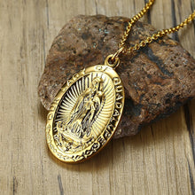 Load image into Gallery viewer, GUNGNEER Catholic Stainless Steel Lady of Guadalupe Virgin Mary Pendant Necklace Jewelry