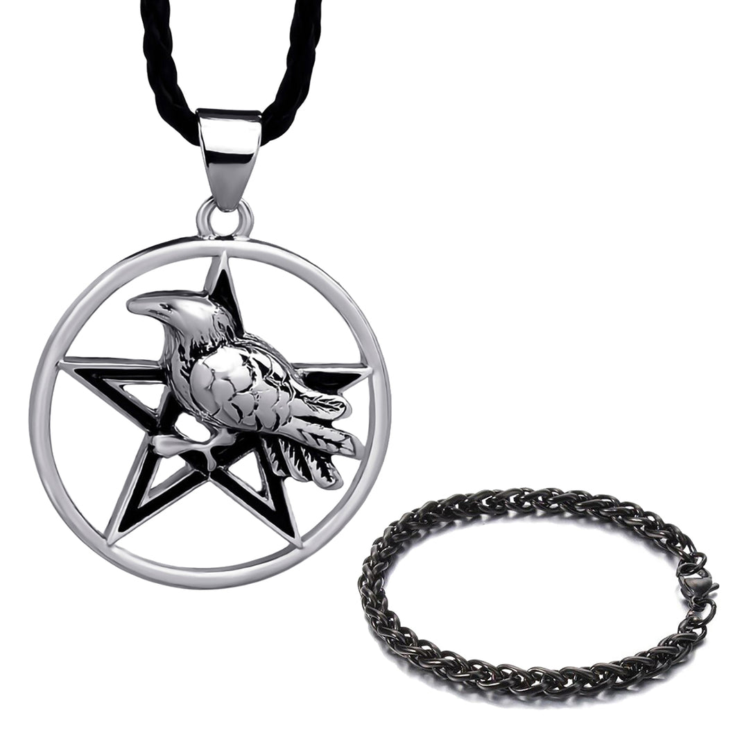 GUNGNEER Wicca Pentagram Raven Witchcraft Pendant Necklace Wheat Chain Bracelet Jewelry Set