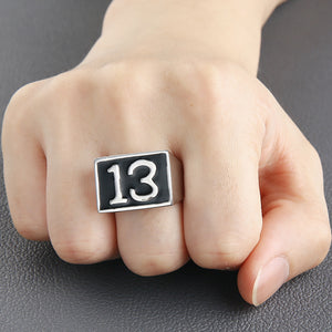 GUNGNEER Vintage Lucky Number 13 Pendant Necklace Ring Stainless Steel Punk Biker Jewelry Set