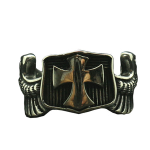 GUNGNEER Cross Shield Ring Multi-size Stainless Steel God Jesus Jewelry Accessory For Men