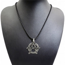 Load image into Gallery viewer, GUNGNEER Biker Signet Gem Eye Of Providence Ring Leather Rope Chain Jewelry Set