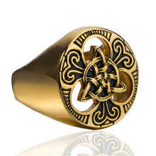 Load image into Gallery viewer, GUNGNEER Irish Celtic Knot Triquetra Stainless Steel Ring Amulet Jewelry