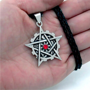 GUNGNEER Wicca Pagan Pentagram Red Stone Pendant Necklace Rope Chain Braclet Amulet Jewelry Set
