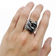 Load image into Gallery viewer, GUNGNEER 2 Pcs American Eagle Motorcycle Stainless Steel Biker Ring Jewelry Set Men Women
